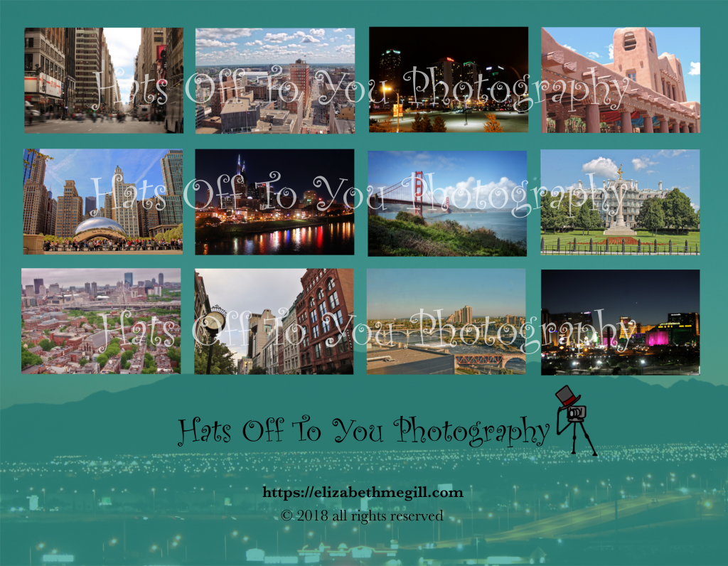 US cities calendar back cover